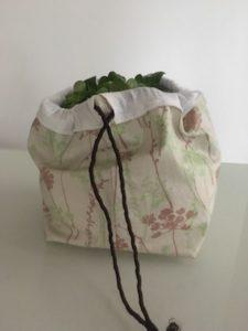 sac à salade en coton enduit Herbes Taupe Vert