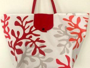 sac de plage en tissu enduit Corail rouge